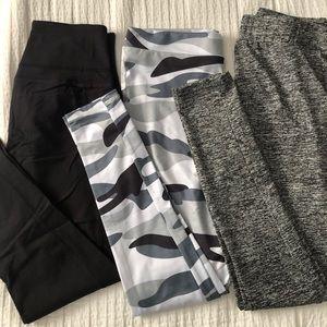 3 set leggings, Black, Camo, and Gray leggings